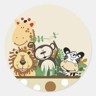 The Zoo Crew Jungle Envelope Seals - Tan Classic Round Sticker