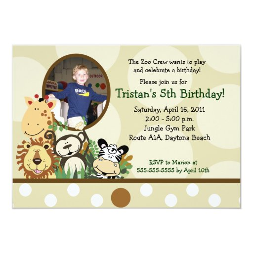 The Zoo Crew Jungle *PHOTO* Birthday - TAN Card