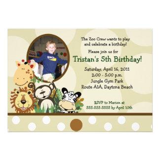 The Zoo Crew Jungle PHOTO Birthday - TAN Custom Announcement