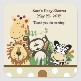 The Zoo Crew SQUARE Favor Sticker - Tan