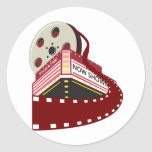 theater cinema building with film reel rolling out stickers