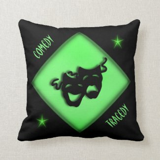 Theater Happy Sad Greek Masks Green Throw Pillow