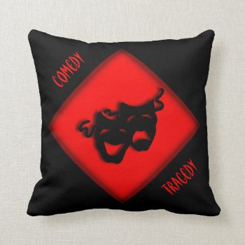Theater Happy Sad Greek Masks Red Throw Pillow