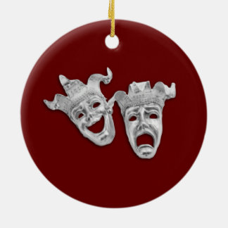 Theater Masks Design Maroon Ceramic Ornament
