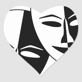 Theater Masks Heart Sticker