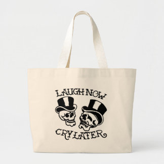 Theater Masks Laugh Now Cry Later Large Tote Bag