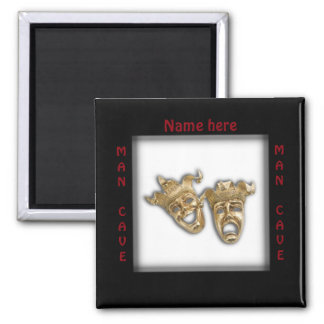 Theater Masks Man Cave Name 2 Inch Square Magnet