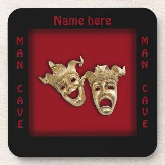 Theater Masks Man Cave Name Beverage Coaster
