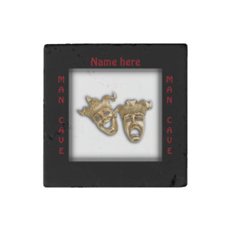 Theater Masks Man Cave Name Stone Magnet