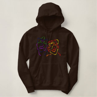 Theater Masks Outline Embroidered Hoodie