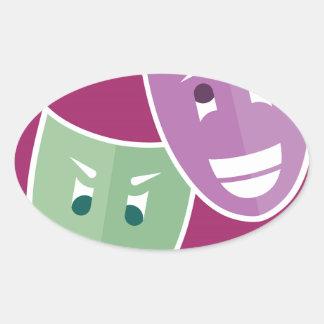 Theater masks oval sticker