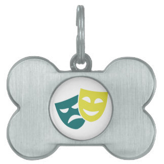 Theater masks pet tag