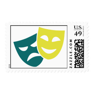 Theater masks postage stamps
