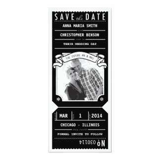 Theater Playbill Ticket Photo Save Date in Black Card