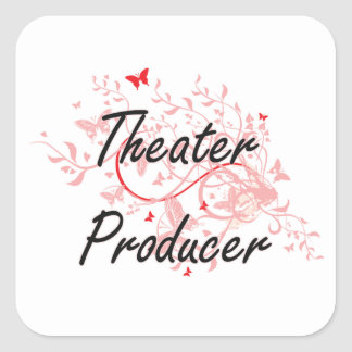 Theater Producer Artistic Job Design with Butterfl Square Sticker