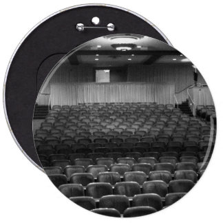Theater Seating Black White Photo 6 Inch Round Button