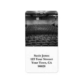 Theater Seating Black White Photo Address Label