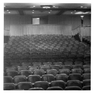 Theater Seating Black White Photo Large Square Tile