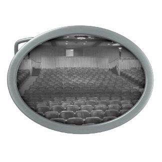 Theater Seating Black White Photo Oval Belt Buckles