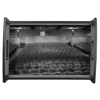 Theater Seating Black White Photo Serving Tray