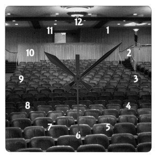 Theater Seating Black White Photo Square Wall Clocks