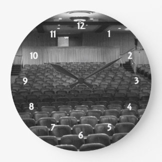 Theater Seating Black White Photo Wall Clocks