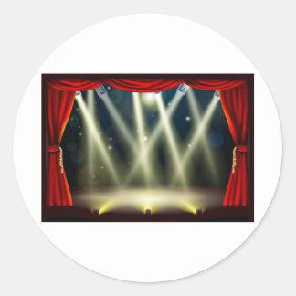 Theater stage lights round sticker