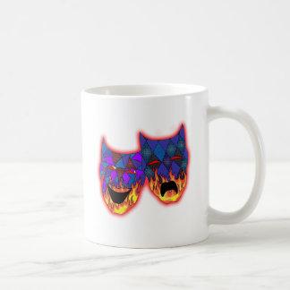 TheaterMasks -  Neon Red Glow Classic White Coffee Mug