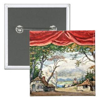 THEATRE BACKDROP DECOR, BALLET RUSES GISELLE CARD BUTTON