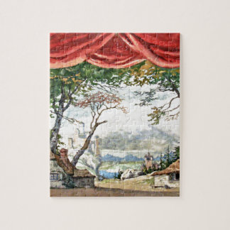 THEATRE BACKDROP DECOR, BALLET RUSES GISELLE CARD JIGSAW PUZZLE