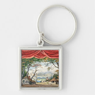 THEATRE BACKDROP DECOR, BALLET RUSES GISELLE CARD KEYCHAIN
