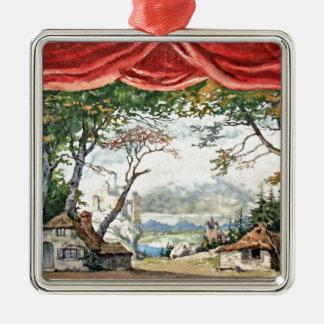 THEATRE BACKDROP DECOR, BALLET RUSES GISELLE CARD METAL ORNAMENT
