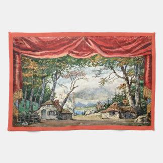 THEATRE BACKDROP DECOR, BALLET RUSES GISELLE CARD TOWEL