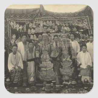 Theatre company, Burma, c.1910 Square Sticker