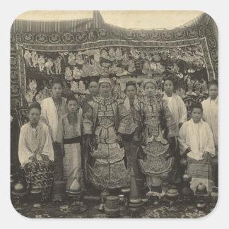 Theatre company, Burma, c.1910 Square Sticker