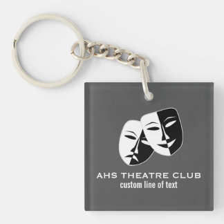 Theatre Drama Club Masks Custom Thespian Name Keychain