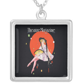 Theatre Magazine Cover 1921 Vintage Silver Plated Necklace