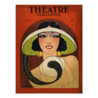 Theatre Magazine Cover 1924 Vintage Deco Poster