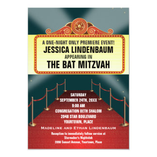 Theatre Marquee Bar Bat Mitzvah Card