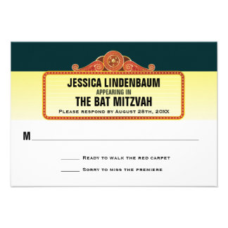 Theatre Marquee Bar Bat Mitzvah Reply RSVP Personalized Invite