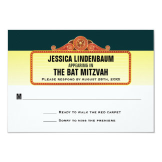 Theatre Marquee Bar Bat Mitzvah Reply RSVP 3.5x5 Paper Invitation Card