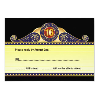 Theatre Marquee Sweet 16 Birthday Reply Card