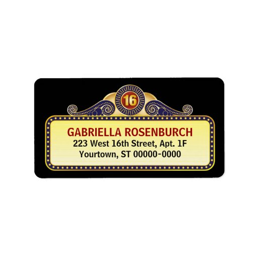 Theatre Marquee Sweet 16 Label