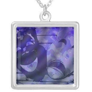 Theatre Masks blue Square Pendant Necklace