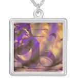 Theatre Masks purple yellow Custom Necklace