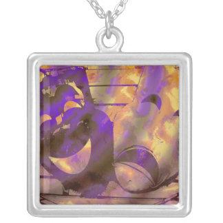 Theatre Masks purple yellow Square Pendant Necklace