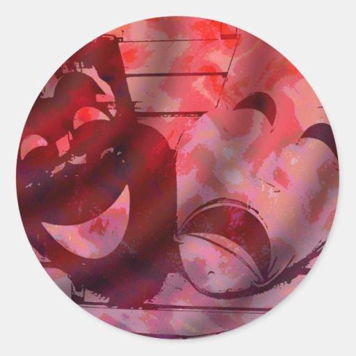 Theatre Masks Round Sticker