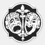 Theatre Masks Round Stickers