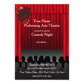 theatre invitations announcements zazzle. Black Bedroom Furniture Sets. Home Design Ideas