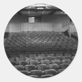 Theatre Seats Black White Classic Round Sticker